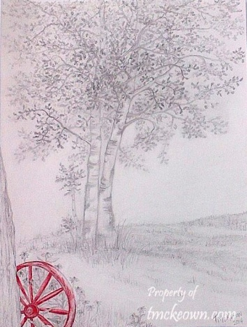 Birches with Red Wagon Wheel